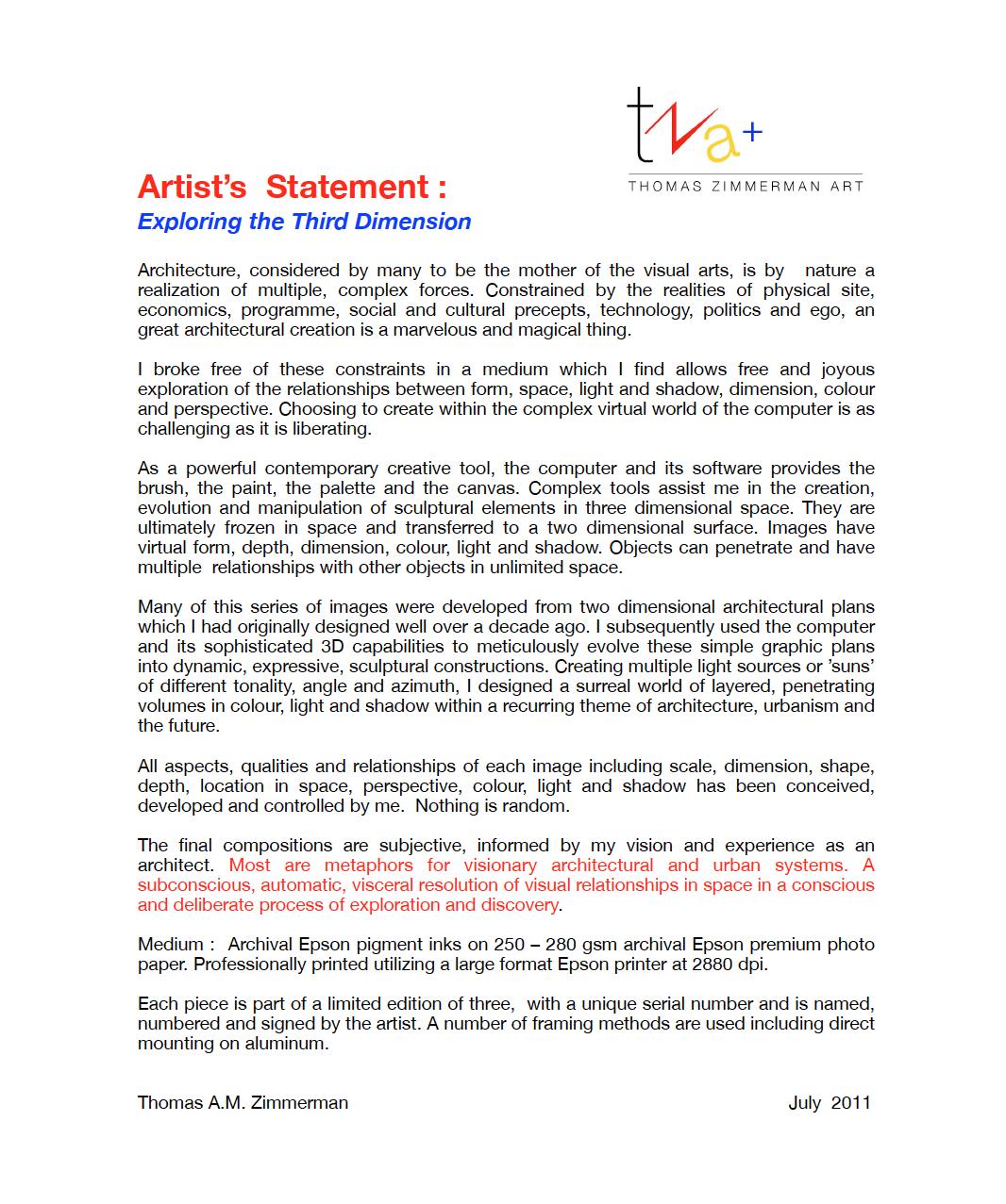 One Line Artist Statement : Artist s statement zimmerman art